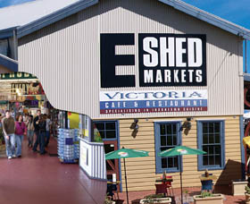 The E Shed Markets Logo and Images