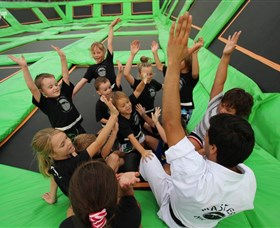 Flip Out Trampoline Arena Logo and Images