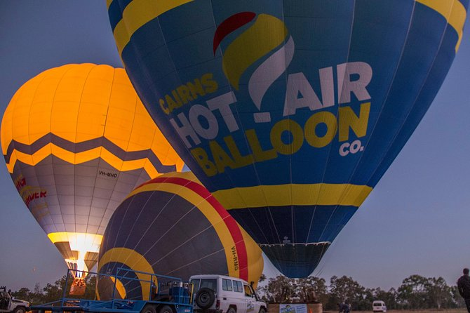 Hot Air Balloon Flight at Sunrise - with Port Douglas Transfers Logo and Images