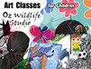 Oz Wildlife Studio Children's Art Classes Logo and Images