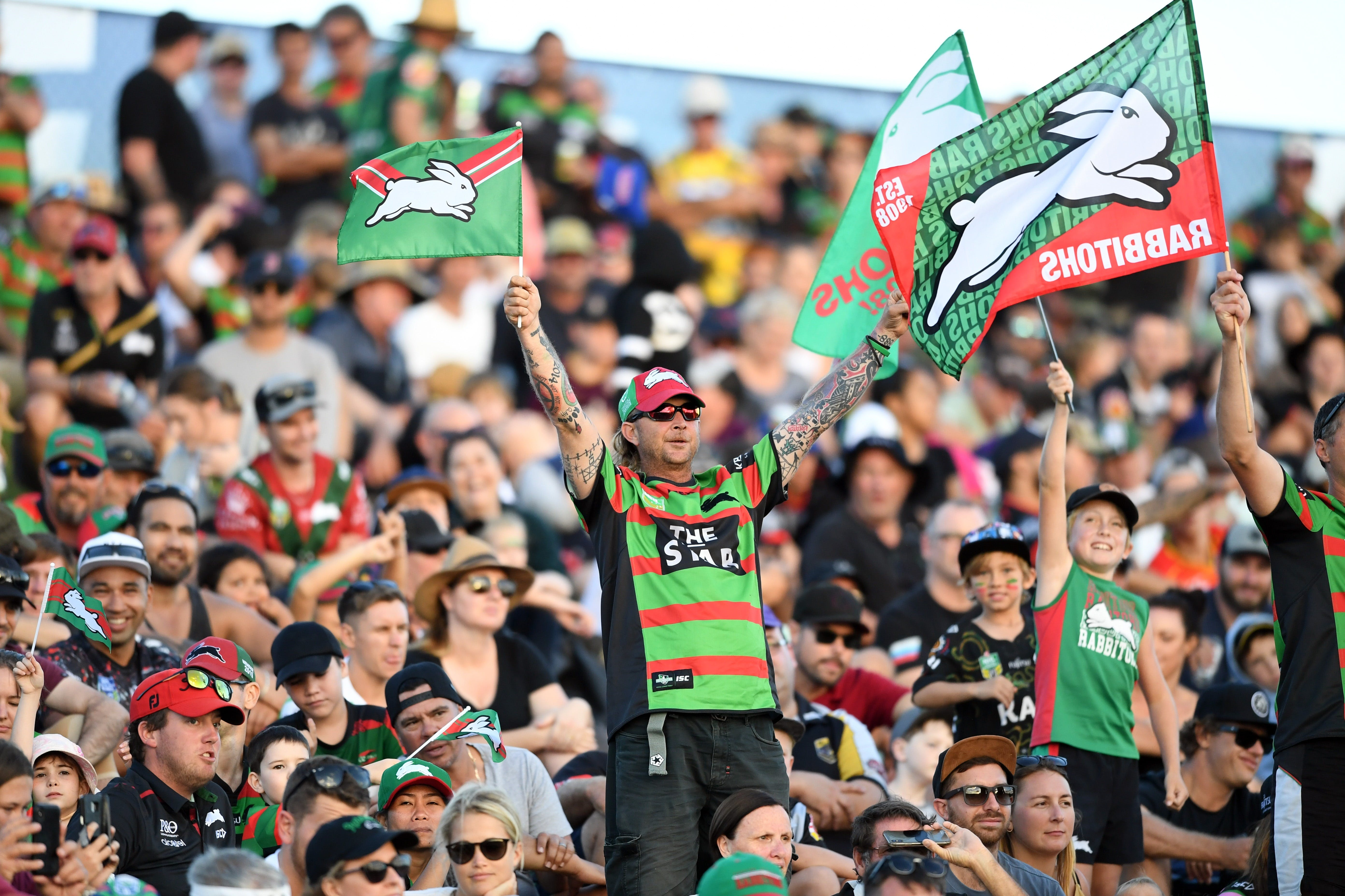 South Sydney Rabbitohs versus New Zealand Warriors Logo and Images