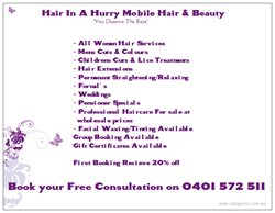 Hair In A Hurry Mobile Hair & Beauty Logo and Images