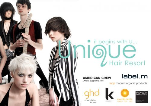 Unique Hair Resort Logo and Images