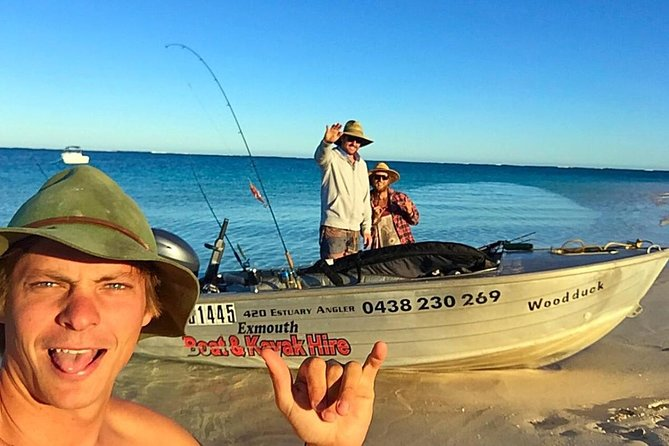 Boat Hire: Explore Exmouth's Ningaloo Reef by hiring a Boat, Car, or Kayak Logo and Images