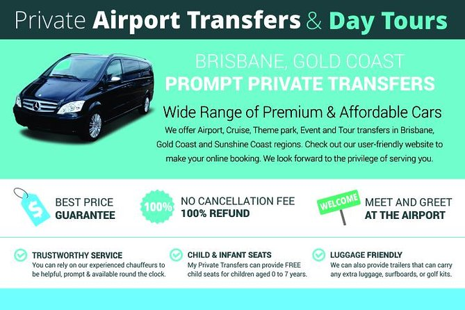 Private Brisbane Airport Family Transfers- Brisbane Airport to Surfers Paradise Logo and Images