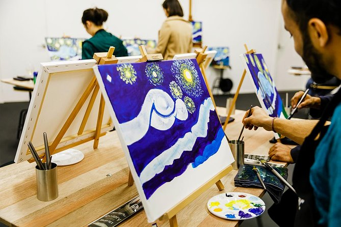 Wine & Paint Night at Brisbane 'Sip & Paint' Studio Logo and Images