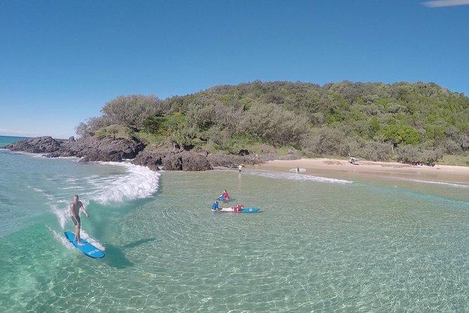 Rainbow Beach Surf Lesson Australia's Longest Wave 4X4 Adventure Logo and Images