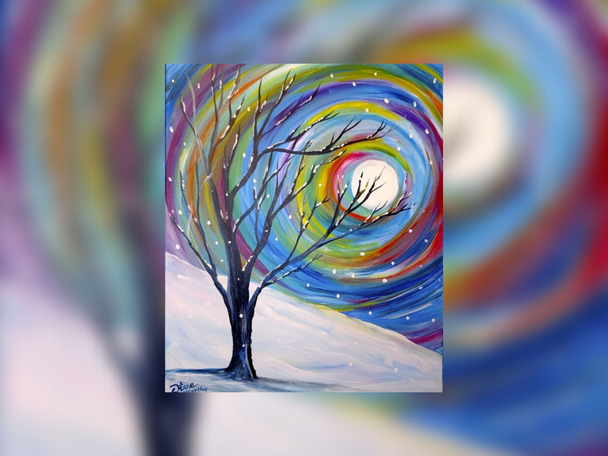 Grab a glass of wine and learn to paint 'Rainbow Snow'! Logo and Images
