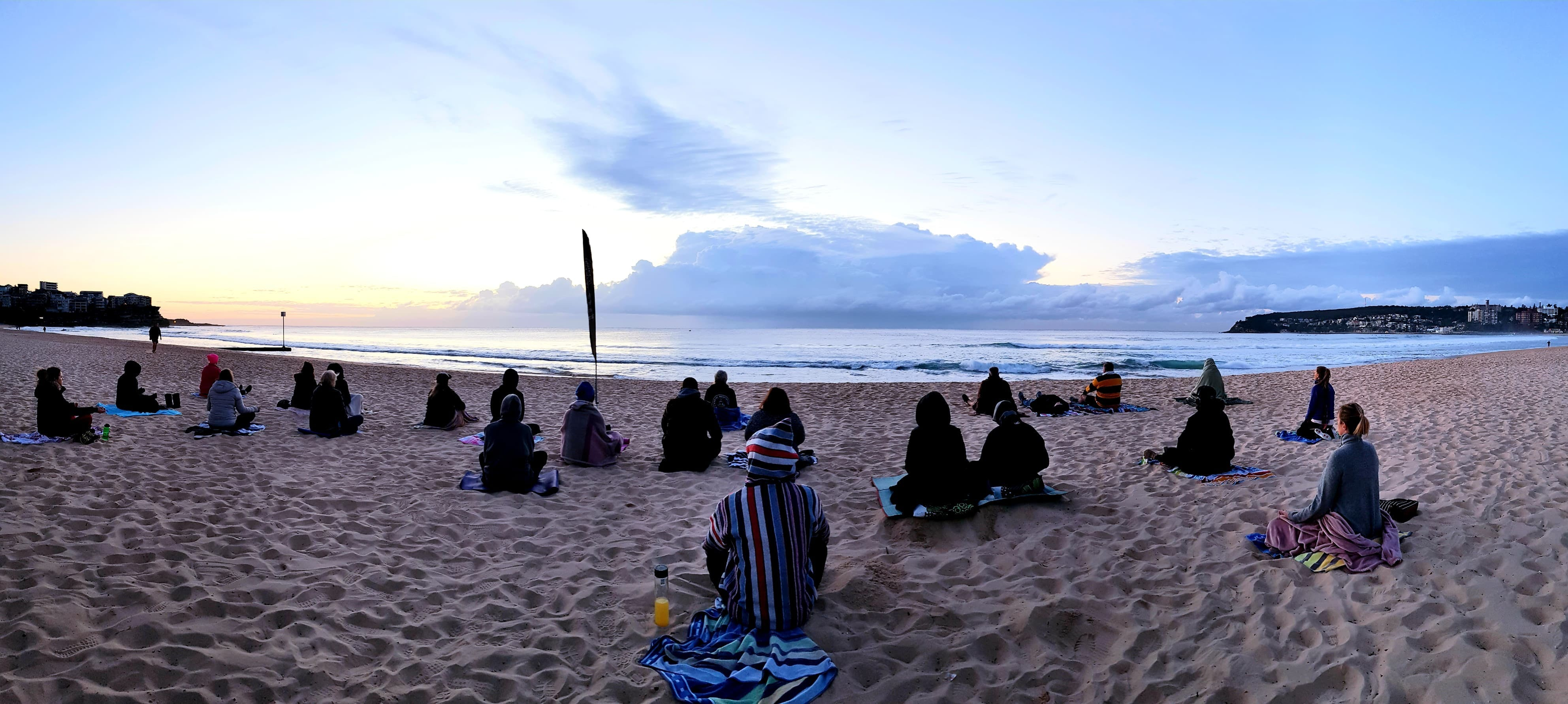 Making Meditation Mainstream Free Beach Meditation Session Mooloolaba Logo and Images