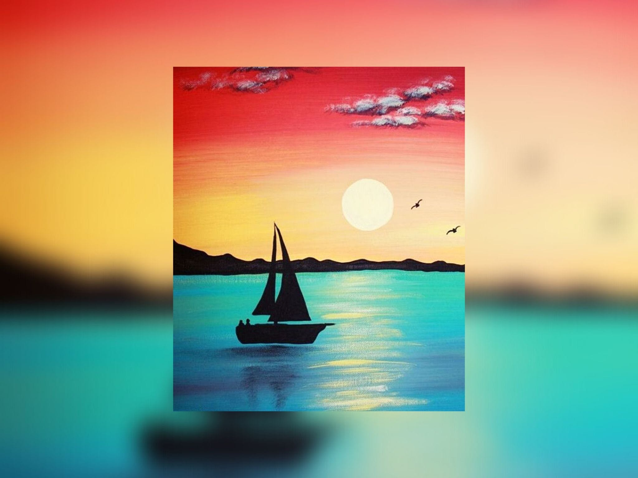 Grab a glass of wine and learn to paint 'Sailboat'! Logo and Images